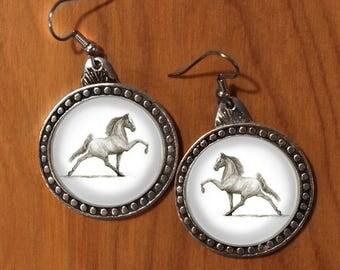 Horse earrings,Tennesse Walker drop earrings, embedded drawing