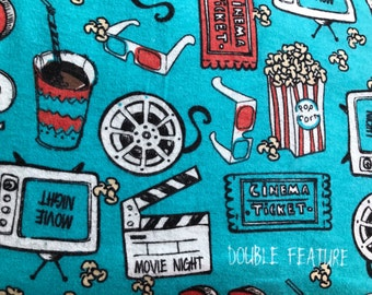 FLANNEL - Blue Movie Theater Fabric - Popcorn Flannel - Friday Night Movie Fabric - Cinema Fabric - Drive In Movie Fabric - Movie Ticket