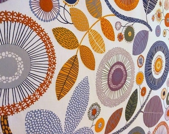Curtain panel White blue orange purple beige grey Floral Modern Decor Cafe curtain Kitchen valance , runner , napkins available, great GIFT