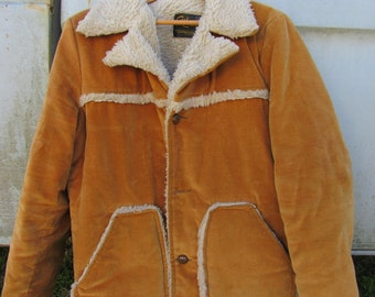 70s Cal Craft Faux Fur Lined Coat in Gold Mustard, Men's M Women's L // Vintage California Winter Jacket
