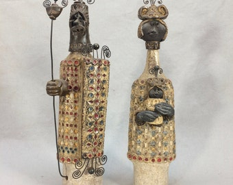 Danish Modern Ceramic Male Female Figures King/Queen marked G R