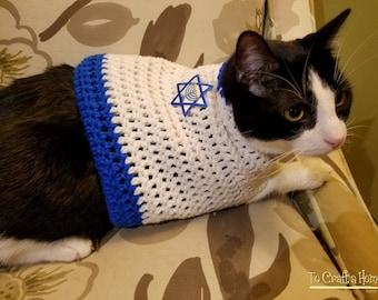 Hanukkah Cat Sweater- hanukkah cat clothing-clothes for cats