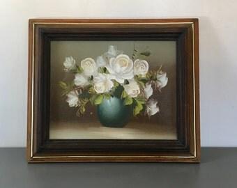 vintage framed painting white flowers vase still life roses teal vase