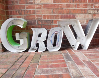 "FOUR Large Reclaimed Metal Capital Sign Letters ""GROW"", Great Gift, Wedding, Industrial Salvage, Home Decor, Office Decor, Industrial Decor"