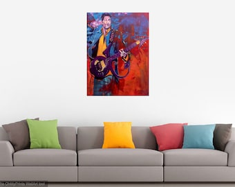 Prince Purple Rain Giclee Canvas Musician Guitar Celebrity Print Wall Art Colorful Abstract Pop Art