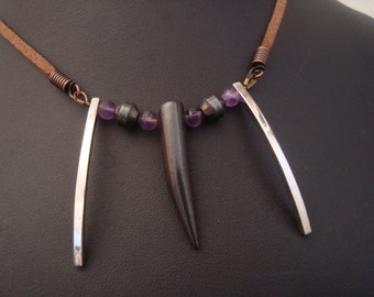 Amethyst and Bone Necklace