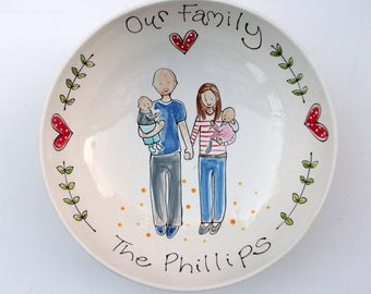 Family Portrait Plate / Bowl  . A wonderful gift for an Anniversary, Birthday, Father's Day