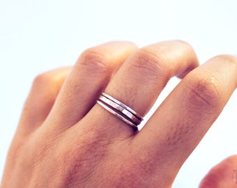 Sterling Silver Stackable Rings | Set of 3 | Bands, Textured, Simple, Minimalist, Stack, Staple | Free Shipping on orders 30+