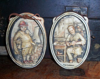 Vintage Plaster Village Town Wall Hanging Plaques Cobbler Crier Very Old