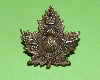 WWI 78th Infantry Winnipeg Grenadiers Oversease Batallion Collar Badge with lugs