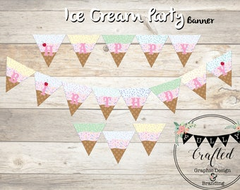 Ice cream banner, Happy Birthday Banner, Ice Cream decor, Ice Cream Party, Birthday Banner, Sprinkle banner, Downloadable birthday Banner