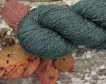 Blue Green Teal Green Deep Aqua Peace Fleece 4 ounce skein. Wool Mohair. Knit Crochet Felt. Made in New England. Ships from Vermont USA