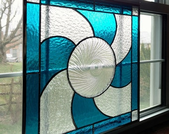 Stained Glass Window Panel with Vintage Plate - Blue and Clear Cathedral Glass - Geometric Stained Glass - Privacy Screen - Wedding Gift