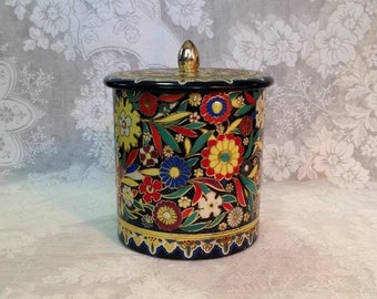 Bisquit tin embossed metal canister lidded tea cookies storage bright floral made in Holland retro boho mod cottage chic home kitchen decor