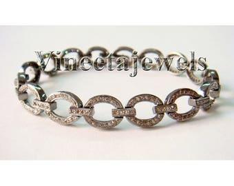 Latest Victorian Inspr. 3.15Ctw Rose Cut Diamond Anti. Silver Tennis Bracelet