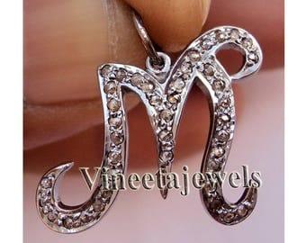Initial ''M'' Vintage Look .925 Sterling Silver 0.35Ct. Rose Cut Diamond Antique Pendant