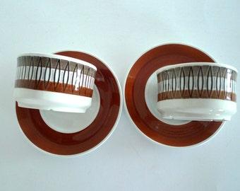 Gefle Lansett Sweden cups and saucer - SET OF TWO Design Helmer Ringström Scandinavian Vintage