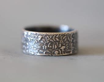 GRUNGE FLOWERS: Botanical Ring, Sterling Silver, Wedding Band, Engagement, Promise. Rustic, Bohemian, Wide Band, Botanical