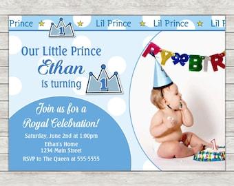 Prince 1st Birthday Invitation - Printable File or Printed Invitations