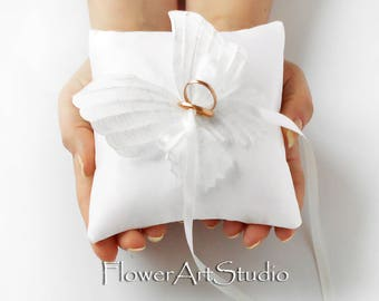 Wedding Ring Pillow White Butterfly Ring Pillow White Wedding Ring Bearer Pillow Satin Ring Pillow with Butterfly