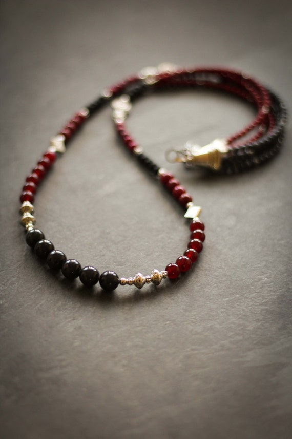 Necklace Stendhal : fossil stone, black, glass, silver color, charcoal color, burgundy , stainless steel