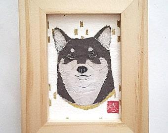 Black Shiba Inu Art, Shiba Inu Gift, 柴犬, ACEO, Shiba Inu Decor