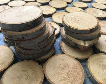 3-4 inch 50 count White Wood slices