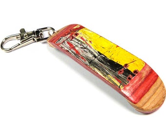 Skateboard Keychain, Recycled Skateboard, Skate Deck, Wood Keychain, Wood Keyring,  Handmade by British Artist Gomez, SESH Jewellery