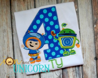 Team Umizoomi Geo and Bot Birthday Shirt - number can be changed - colors can be changed - umi zoomi