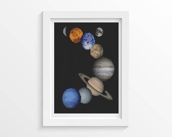 Cross Stitch Pattern PDF Solar System Cross Stitch Chart, Space Planets Instant Download (SPACE03)