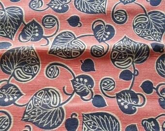 Vintage FULL Unopened Feed Sack Feedsack Fabric Material Pink Blue Leaves  BEAUTIFUL