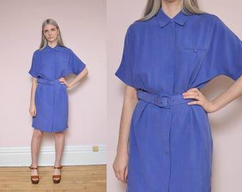 90s Silky Day Dress M Royal Blue Purple Mod Dress Midi Spring Dress Preppy Minimal Shirtwaist Dress Work Dress
