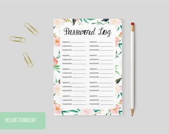 Password Log Floral Print A4 Interactive and Printable Files Included INSTANT DOWNLOAD