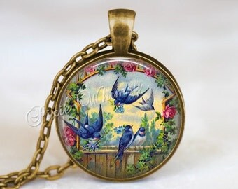SWALLOW Necklace Pendant Keychain Jewelry Blue Bird Vintage Bluebird Print Bird Pendant Vintage Bird Art Print Pink Shabby RosesFlowers