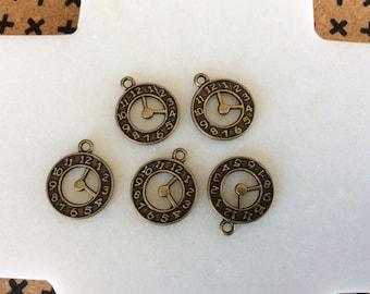 Antique bronze clock charm pendants