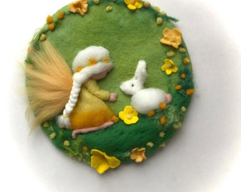 Eastern,Girl,Fairy,Bunny,Spring, Picture,tapestry,Wet felted,Needle Felted. Waldorf