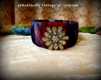 Bracelet, Crystal, Floral, Handmade, Art, Shabby Chic, Bangle, Gift, Accessories, Rustic, Victorian, Jewelry