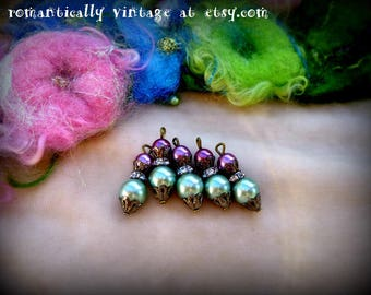 Beads, Charms, Pearls, Handmade, Craft Supplies, Shabby Chic, Embellishments, Lavender