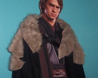 Game of Thrones Cape with Beige Fur- Winterfell Cloak - Jon Snow - Knight's Watch - Ned Stark - Robb Stark - Medieval Costume - Viking