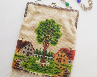 Antique German Purse Microbeaded Evening Bag Cottage Scene Early 1900s Beaded Bag Jeweled Chain Handmade GlassAntique Micro Bead Bag Germany