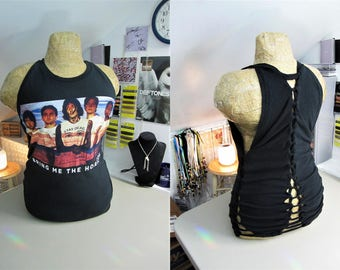 Bring Me The Horizon Refashioned Black T-Shirt into Tank Top with Back and Side Woven Cut-Outs