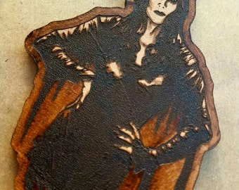 """Wasteland Oddities Hand Tooled and Painted Leather """"Morticia"""" Tags! MORTICIA ADDAMS Addams Family"""