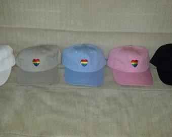 Gay Pride Embroidered Rainbow Heart Love Dad Hat Cap LGBT Lesbian Proud Shirt Orlando