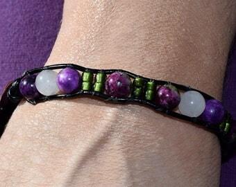 Single Wrap, Quartzite, Rose Quartz, Sugilite, Leather Bracele,t with Amayila's, Handmade Copper Button, by helen Jewelry, jewellry