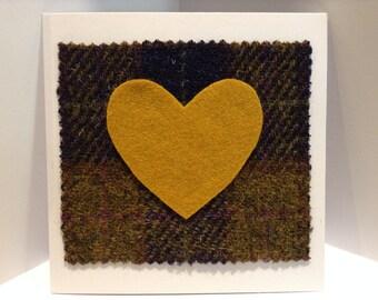 Scottish Tweed Mustard Yellow Heart Valentine's Card