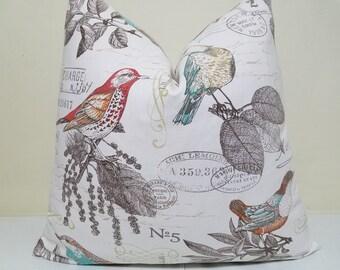 Birds Pillow Cover - Birdwatcher Pillow- Richloom Postscript Bird Print - Turquoise - Red - Brown Pillow - Euro Sham