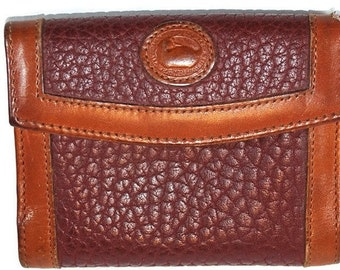 Vintage Dooney & Bourke Bi-Fold Wallet Rose AWL All Weather Leather Credit Card Business Cards