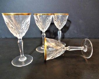 Vintage Gold Rim Cut Crystal Cordial Glasses - Set of 3 - Art Deco - Hollywood Regency