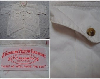 Vintage Retro Men's 60's Filson Shirt Oxford White Genuine Seattle Buttonup Short Sleeve Shirt Large Made in USA