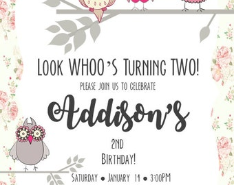 Look WHOOs Turning Two Girl Birthday Invitation Digital File ONLY